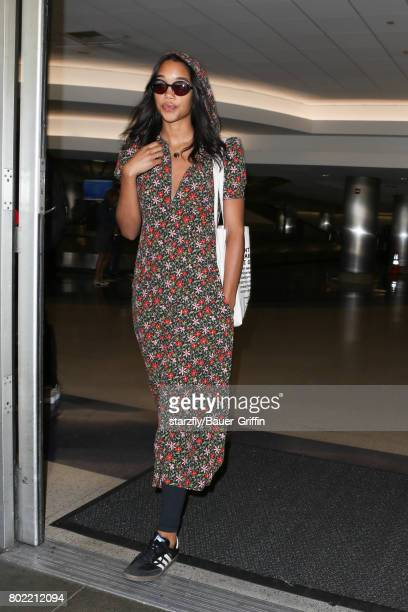 Laura Harrier is seen at LAX on June 27 2017 in Los Angeles California