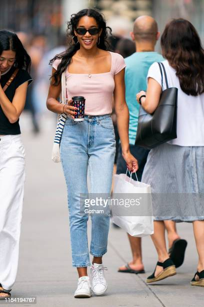 Laura Harrier is seen in SoHo on June 06, 2019 in New York City.