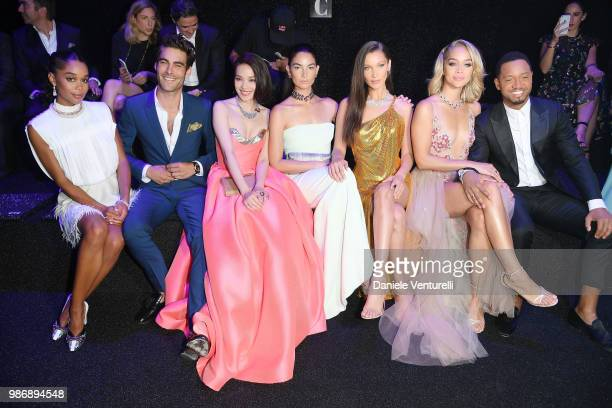 Laura Harrier Jon Kortajarena Shu Qi Lily Aldridge Bella Hadid Jasmine Sanders and Terrence J attend BVLGARI Dinner Party at Stadio dei Marmi on June...