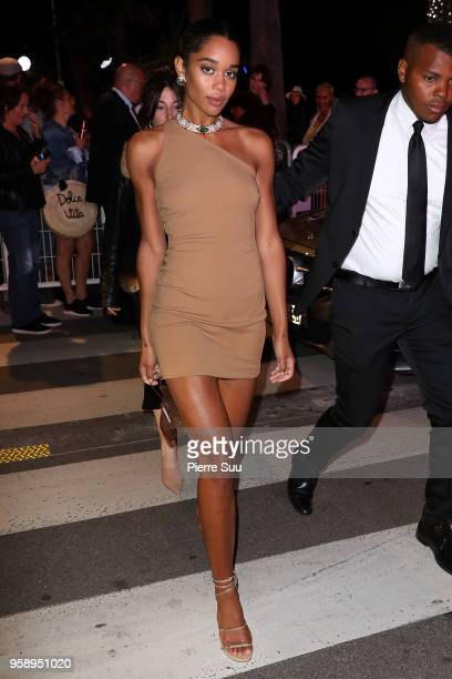Laura Harrier leaves the Solo A Star Wars Story party during the 71st annual Cannes Film Festival on May 15 2018 in Cannes France