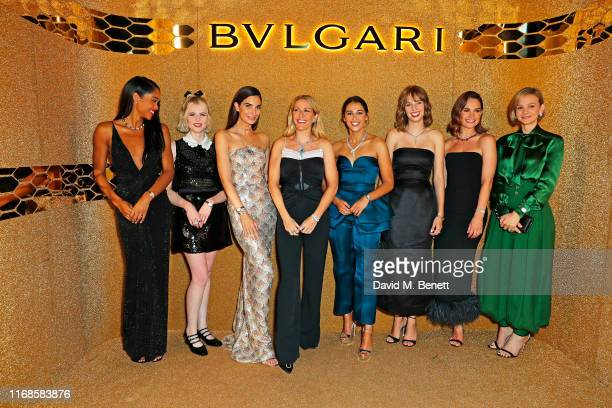 Laura Harrier Lucy Boynton Lily Aldridge Ellie Goulding Naomi Scott Maya Hawke Lily James and Carey Mulligan attend the Bvlgari Serpenti Seduttori...