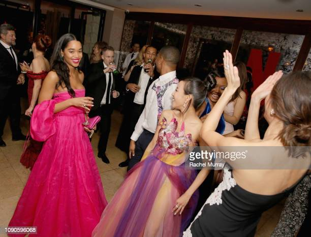 Laura Harrier Michael B Jordan Fiona Xie and Gemma Chan attend Netflix 2019 SAG Awards after party at Sunset Tower Hotel on January 27 2019 in West...