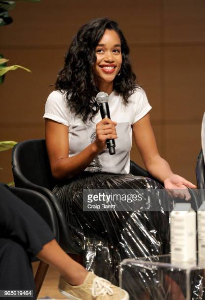 Laura Harrier speaks onstage during the Teen Vogue Summit 2018: #TurnUp - Day 1 at The New School on June 1, 2018 in New York City.
