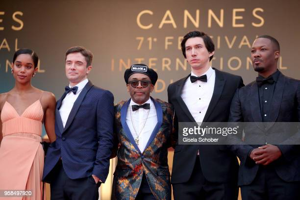 Laura Harrier Topher Grace director Spike Lee Adam Driver and Corey Hawkins attend the screening of 'BlacKkKlansman' during the 71st annual Cannes...