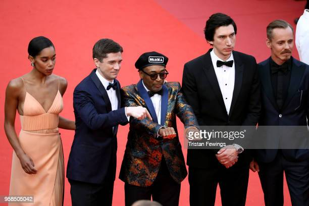 Laura Harrier Topher Grace director Spike Lee Adam Driver and Jasper Paakkonen attend the screening of 'BlacKkKlansman' during the 71st annual Cannes...