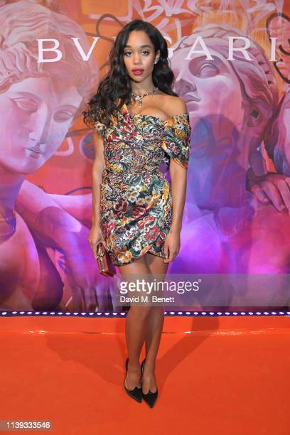 Laura Harrier wearing Bvlgari at the Bvlgari WILD POP Gala Dinner at The Roundhouse on April 25, 2019 in London, England.
