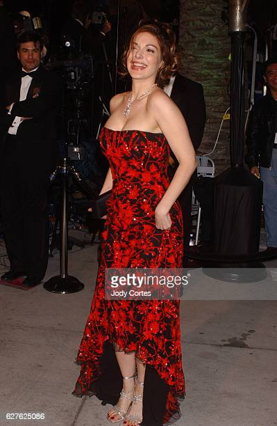 Laura Harring arrives at the Vanity Fair Magazine afterOscar party at Morton's in Hollywood