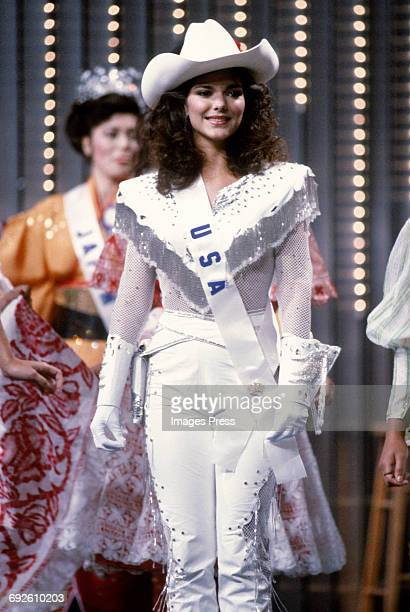 Laura Harring attends the 1985 Miss Universe Pageant circa 1985 in Miami Florida