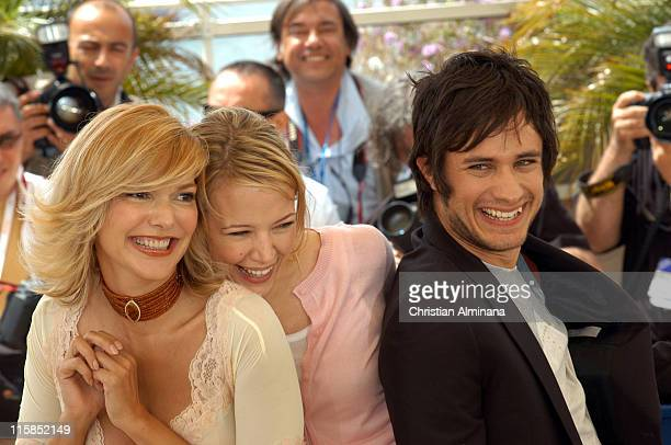 Laura Harring Pell James and Gael Garcia Bernal during 2005 Cannes Film Festival 'The King' Photocall in Cannes France