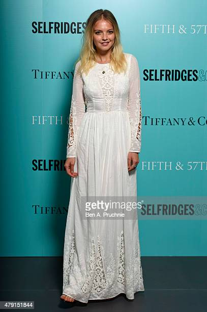 Laura Hayden arrives at the Tiffany Co immersive exhibition 'Fifth 57th' at The Old Selfridges Hotel on July 1 2015 in London England