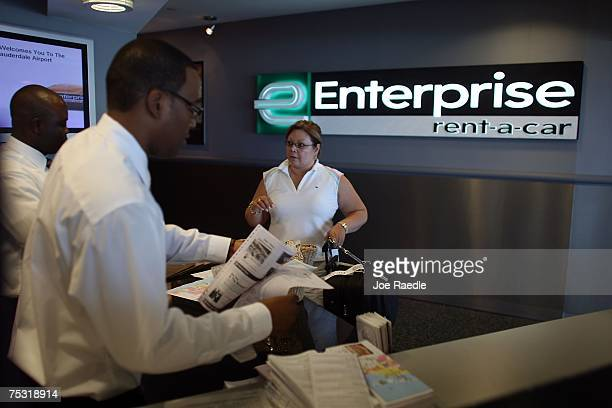 Laura Henley picks up a vehicle at Enterprise rentacar at the Fort Lauderdale/Hollywood International airport July 10 2007 in Fort Lauderdale Florida...