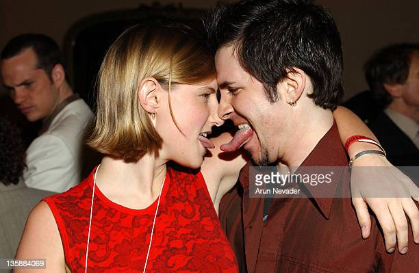 """Laura Heywood of 107.7 The Bone and Hal Sparks at the Motorola-sponsored San Francisco premiere of Showtime's """"Queer as Folk""""."""