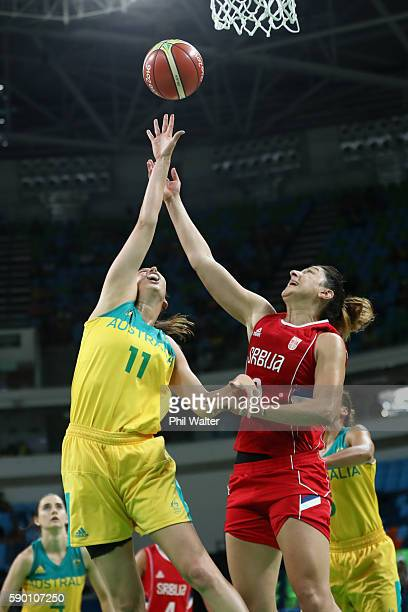 Laura Hodges of Australia and Jelena Milovanovic of Serbia contest the ball during the Women's Quarterfinal match between Australia and Serbia at the...