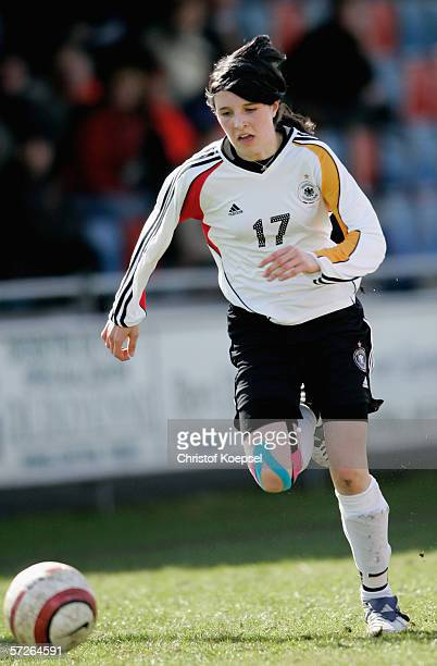 Laura Hoffmann of Germany runs with the ball during the Women's Under 15 International friendly match between Netherlands and Germany on April 5 2006...