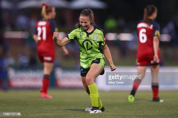 Laura Hughes of Canberra United celebrates after scoring a goal during the round one W-League match between Canberra United and Adelaide United at...