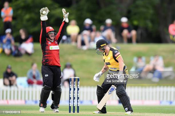 Laura Hughes of the Magicians celebrates after taking a catch to dismiss Rachel Priest of the Blaze during the Women's T20 match between the...