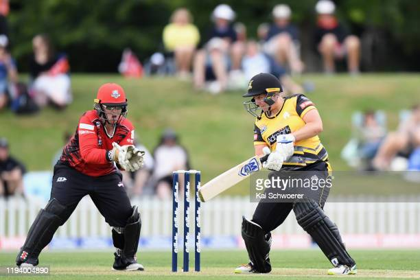 Laura Hughes of the Magicians takes a catch to dismiss Rachel Priest of the Blaze during the Women's T20 match between the Canterbury Magicians and...