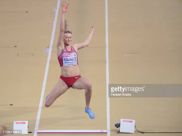 Laura Ikauniece of Latvia competes in the high jump event of the women's pentathlon on March 1 2019 in Glasgow United Kingdom