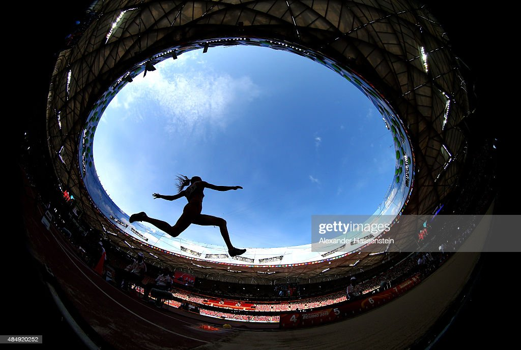 Laura Ikauniece-Admidina of Latvia competes in the Women's Heptathlon Long Jump during day two of the 15th IAAF World Athletics Championships Beijing 2015 at Beijing National Stadium on August 23, 2015 in Beijing, China.