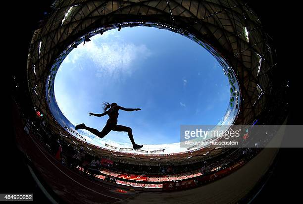 Laura IkaunieceAdmidina of Latvia competes in the Women's Heptathlon Long Jump during day two of the 15th IAAF World Athletics Championships Beijing...