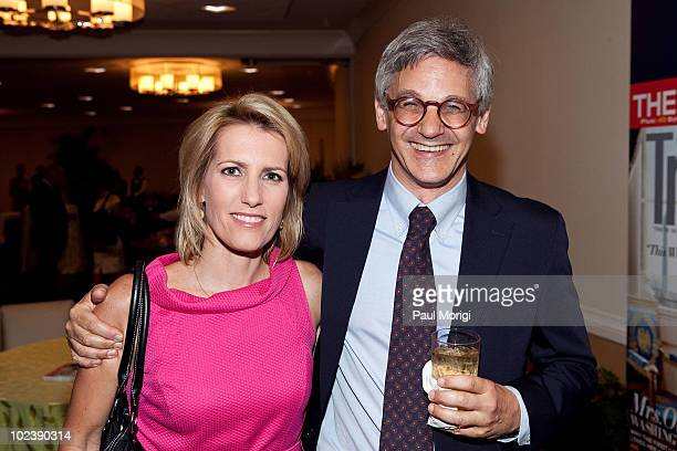 Laura Ingraham Fox News Contributor and host of the Laura Ingraham Show and Peter Kaplan Editorial Creative Director Conde Nast Traveler pose for a...