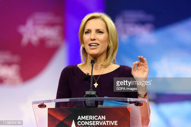 Laura Ingraham host of The Ingraham Angle on Fox News Channel seen speaking during the American Conservative Union's Conservative Political Action...