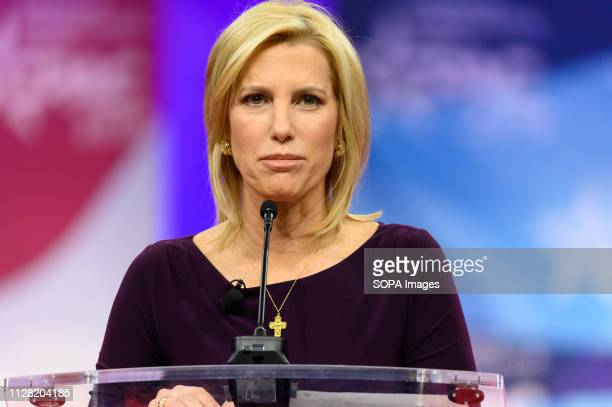 Laura Ingraham, host of The Ingraham Angle on Fox News Channel, seen speaking during the American Conservative Union's Conservative Political Action...