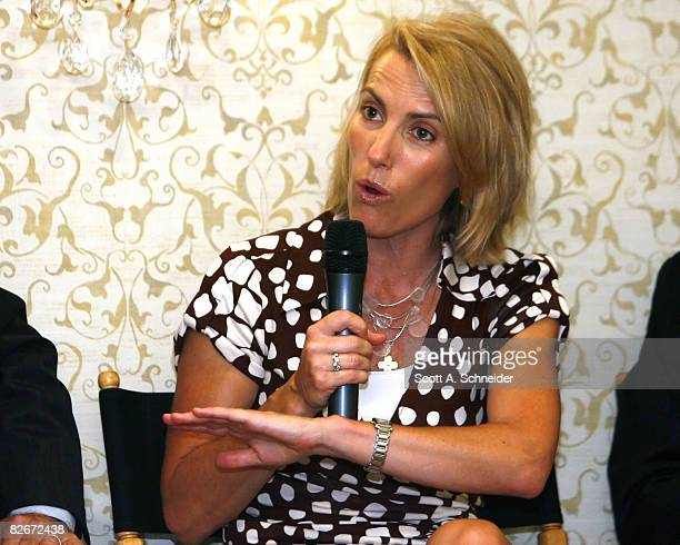 Laura Ingraham makes a point September 1, 2008 at the Nicollet Island Inn in Minneapolis, Minnesota.