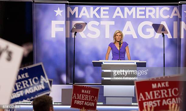 Laura Ingraham speaks on the third day of the Republican National Convention on July 20 2016 at the Quicken Loans Arena in Cleveland Ohio An...