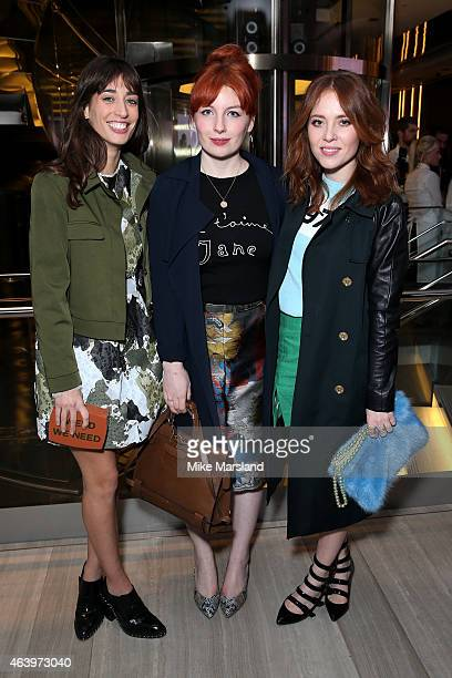 Laura Jackson Alice Levine and Angela Scanlon attend the Very Exclusive launch party on the first night of London Fashion Week at Watches of...