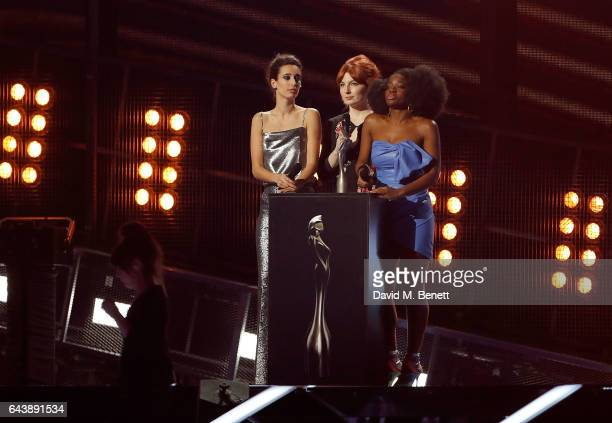 ONLY Laura Jackson Alice Levine and Clara Amfo on stage at The BRIT Awards 2017 at The O2 Arena on February 22 2017 in London England