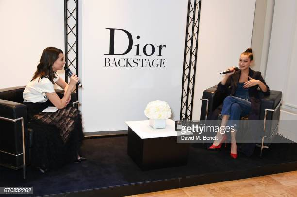 Laura Jackson and Dior spokesmodel Bella Hadid speak onstage at the launch of her new Dior Pump 'N' Volume Mascara at Selfridges on April 20 2017 in...