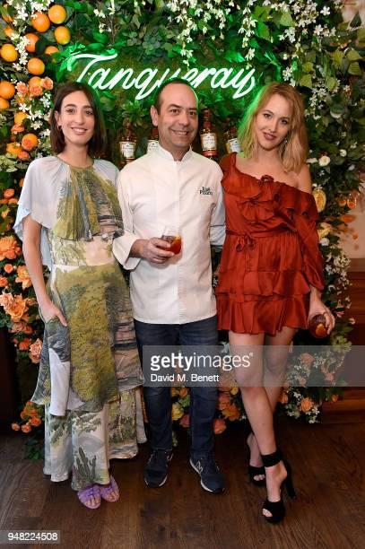 Laura Jackson Jose Pizarro and Tess Ward attend the launch of new gin Tanqueray Flor de Sevilla in partnership with Jose Pizarro at Pizarro...
