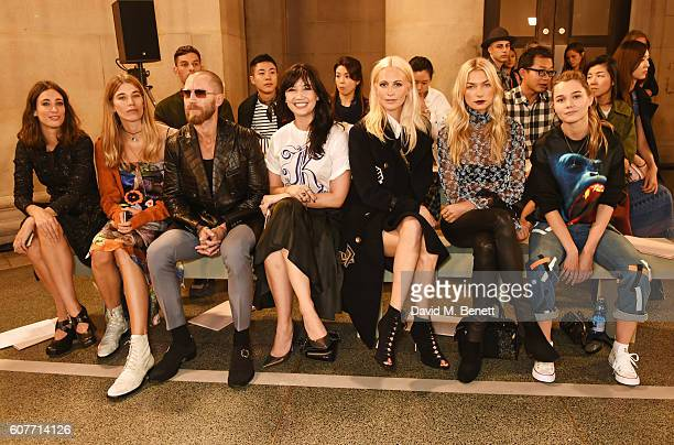 Laura Jackson Veronika Heilbrunner Justin O'Shea Daisy Lowe Poppy Delevingne Jessica Hart and Immy Waterhouse attend the Christopher Kane show during...