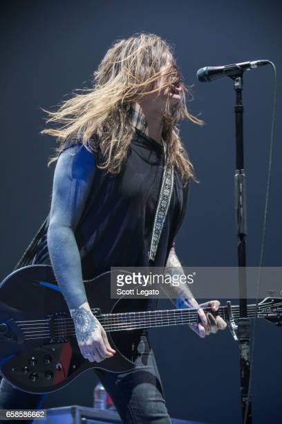 Laura Jane Grace of Against Me performs at Joe Louis Arena on March 27 2017 in Detroit Michigan