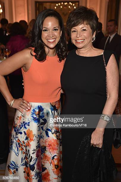 Laura Jarrett and Valerie Jarrett attend the Bloomberg Vanity Fair cocktail reception following the 2015 WHCA Dinner at the residence of the French...