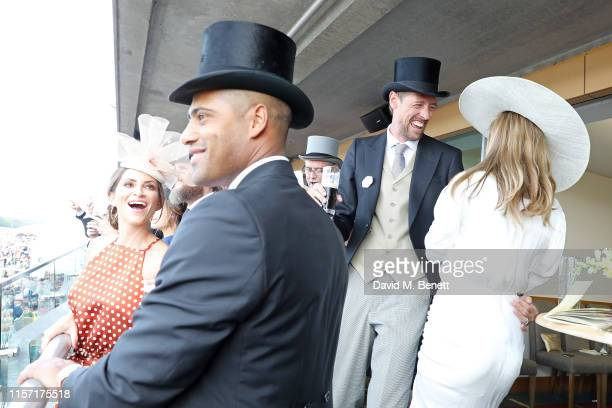 Laura Johnson Glen Johnson Abbey Clancy and Peter Crouch on day 3 of Royal Ascot at Ascot Racecourse on June 20 2019 in Ascot England