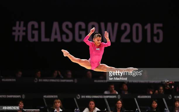 Laura Jurca of Romania competes on the Beam during day seven of World Artistic Gymnastics Championships at The SSE Hydro on October 29 2015 in...