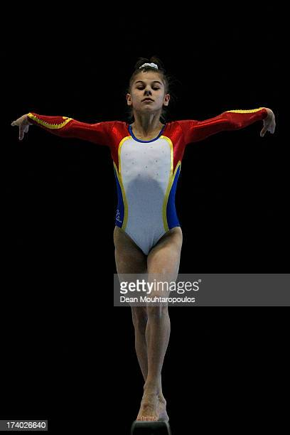 Laura Jurca of Romania competes on the Beam in the Girls Gymnastics during Day 5 of the European Youth Olympic Festival held at the De Galgenwaard on...