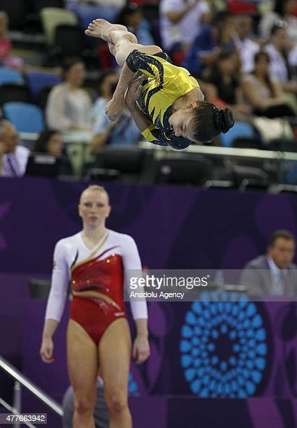 Laura Jurca of Romania competes on the beam in the Women's Individual AllAround final on day six of the Baku 2015 European Games at National...