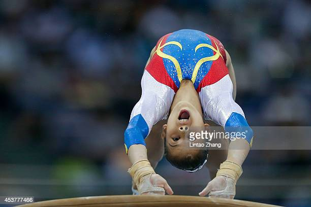 Laura Jurca of Romania competes on the vault during day two of Nanjing 2014 Summer Youth Olympic Games at Olympic Sports Center Gymnasium on August...