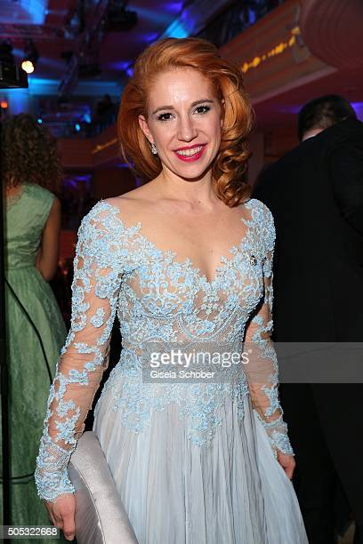 Laura Kaefer friend of Ralph Siegel during the German Film Ball 2016 party at Hotel Bayerischer Hof on January 16 2016 in Munich Germany