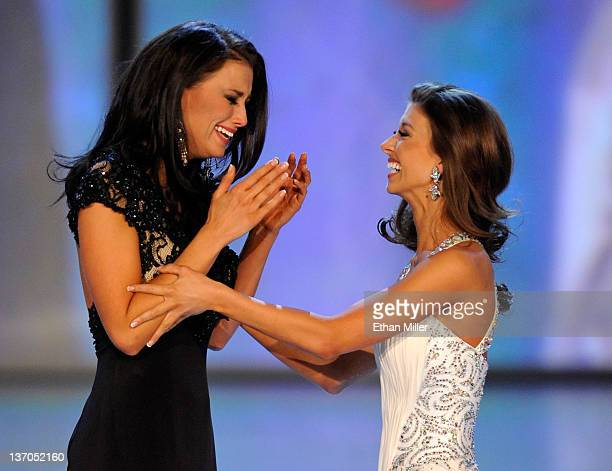 Laura Kaeppeler Miss Wisconsin and Betty Thompson Miss Oklahoma react as Kaeppeler is named the new Miss America and Thompson the first runnerup...