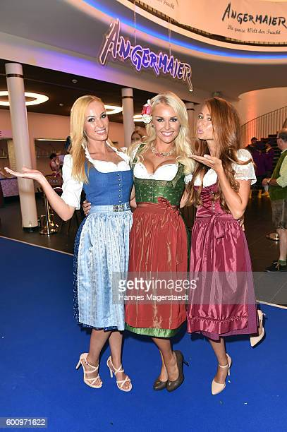Laura Kaiser Denise Cotte and Jessica Kuehne during the Angermaier Kicks Off Oktoberfest Season With 'TrachtenNacht' on September 8 2016 in Munich...