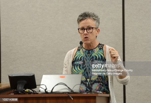 Laura Kanter Director of Policy Advocacy and Youth Programs at LGBT Center OC addresses board members of the Orange County Department of Education in...