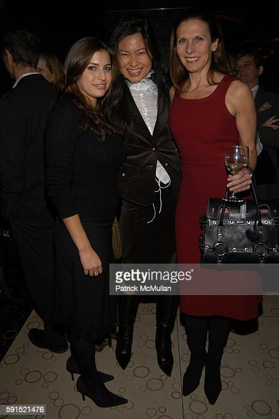 Laura Katzenberg SunHee Grinnell and Marianne Diorio attend The Lauder Family Holiday Cocktail Reception at Nobu Restaurant 57th Street on December...