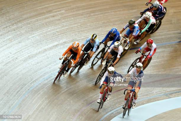 Laura Kenny and Katie Archibald of Great Britain compete in the final of the Women's Madison during the track cycling on Day Six of the European...