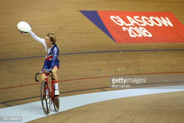 Laura Kenny of Great Britain celebrates after winning the Women's Elimination Race final during the Track Cycling on Day Four of the European...