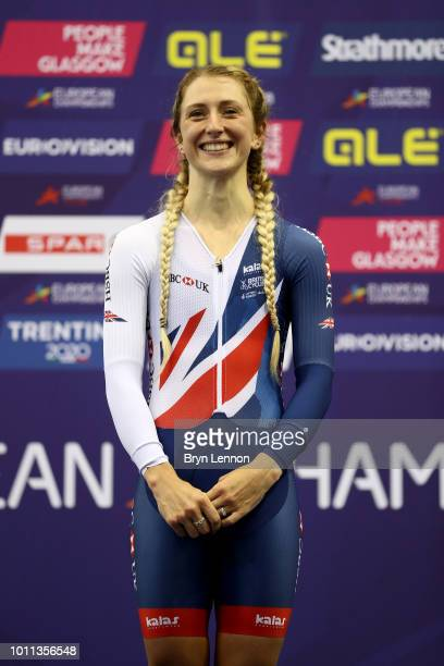 Laura Kenny of Great Britain celebrates after winning the Women's Elimination Race during the Track Cycling on Day Four of the European Championships...