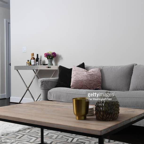 Laura Kiker's one bedroom apartment's living room is shown November 12 2017 in Washington DC Kiker's building previously was a section of Specialty...